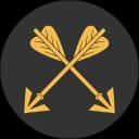Ikon för Bågskyttekapten, två korsade gyllene pilar, på rund, svart bakgrund.