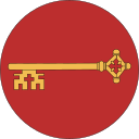 Drots-ikon, gyllene nyckel på rund, röd bakgrund
