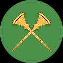 Härold-ikon, två gyllene trumpeter som korsar varann, på rund, grön bakgrund.