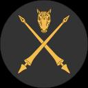 Ikon för Hästmarsk, två korsade gyllene lanser, med gyllene hästhuvud ovanför, på rund, svart bakgrund.
