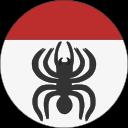 Ikon för Webbgrupp, en svart spindel på nederdel av en rundel, som är vit nedtill och röd upptill.