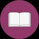 Ikon för Historiker, uppslagen bok på rund, lila bakgrund.