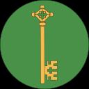 Kastellan-ikon, gyllene nyckel som pekar neråt, på grön, rund bakgrund.