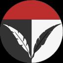 Ikon för Krönikör, två fjädrar, en vit på svart bakgrund och en svart på vit bakgrund som består av en rundel, som har röd toppdel.