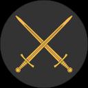 Ikon för Marsk, två korsade gyllene värjor, på rund, svart bakgrund.