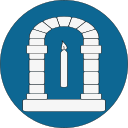Ikon för MoAS, vit stenport med ljus inuti, på rund, blå bakgrund.