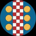 Ikon för Skattmästare, röd-vitt rutmönster i mitten, med tre gyllene mynt på båda sidorna, på blå bakgrund.